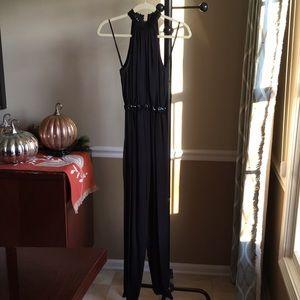 Warren Z 's Sequin collar and waist black jumpsuit